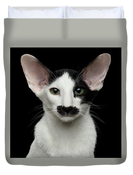 Closeup Funny Oriental Shorthair Looking At Camera Isolated, Bla Duvet Cover by Sergey Taran