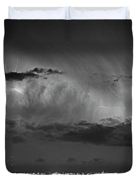 Cloud To Cloud Lightning Boulder County Colorado Bw Duvet Cover by James BO  Insogna