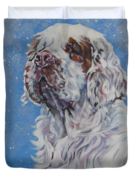 Clumber Spaniel in Snow Duvet Cover by Lee Ann Shepard