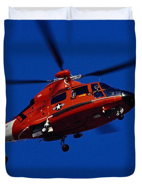 Coast Guard Helicopter Duvet Cover by Stocktrek Images