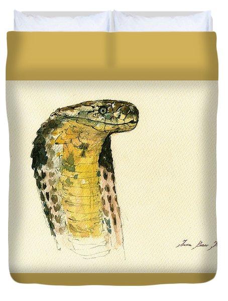 Cobra Snake Poster Duvet Cover by Juan  Bosco