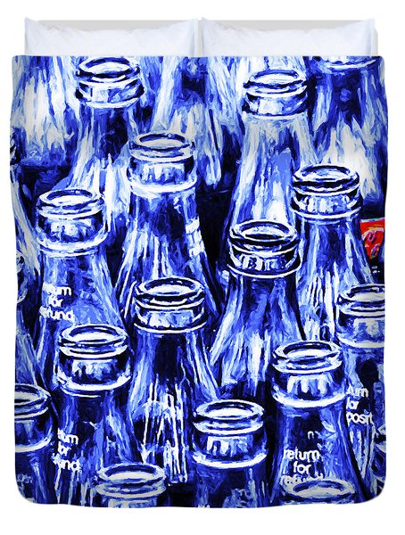Coca-Cola Coke Bottles - Return For Refund - Square - Painterly - Blue Duvet Cover by Wingsdomain Art and Photography