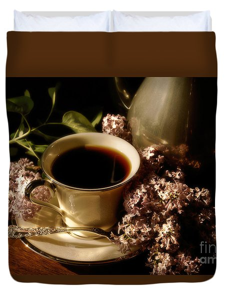 Coffee And Lilacs In The Morning Duvet Cover by Lois Bryan
