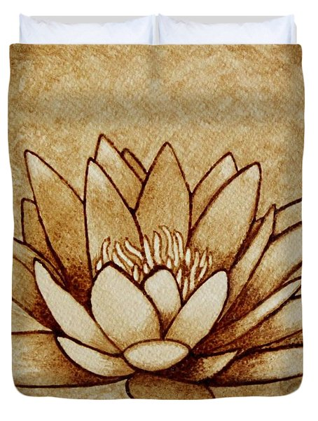 Coffee Painting Water Lilly Blooming Duvet Cover by Georgeta  Blanaru