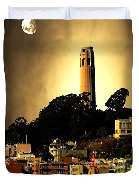 Coit Tower And The Empress Of China Under The Golden Moonlight Duvet Cover by Wingsdomain Art and Photography