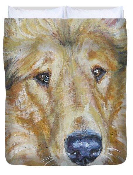 Collie Close Up Duvet Cover by Lee Ann Shepard