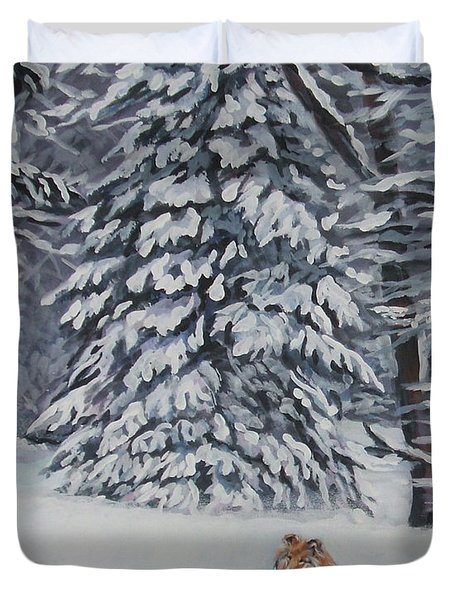 Collie sable Christmas tree Duvet Cover by L A Shepard