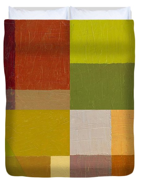 Color Study With Orange And Green Duvet Cover by Michelle Calkins