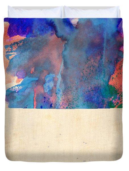 Colorado Watercolor Map Duvet Cover by Naxart Studio