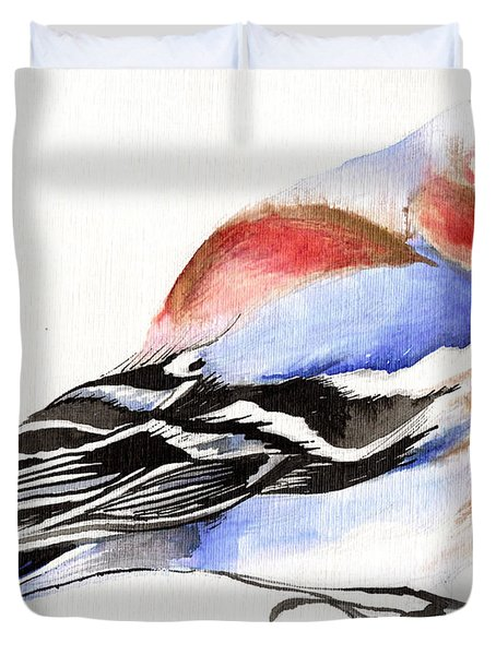 Colorful Chaffinch Duvet Cover by Nancy Moniz