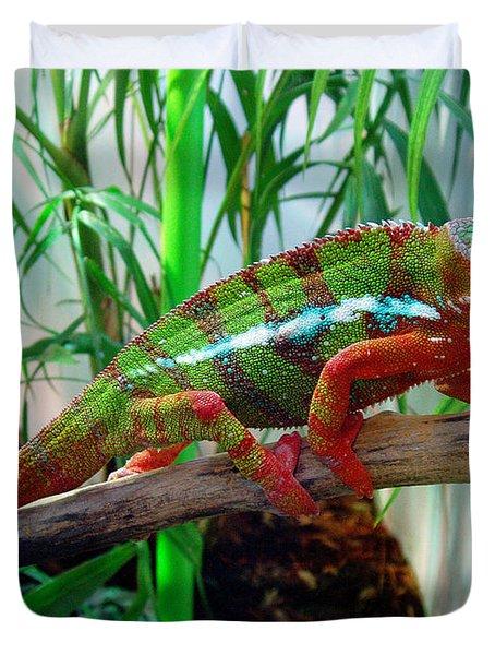 Colorful Chameleon Duvet Cover by Nancy Mueller