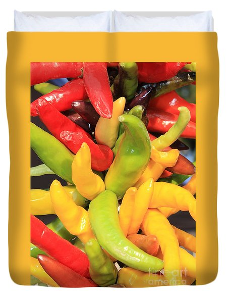 Colorful Chili Peppers  Duvet Cover by Carol Groenen