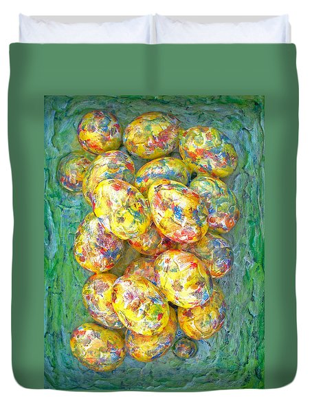 COLORFUL EGGS Duvet Cover by Carl Deaville