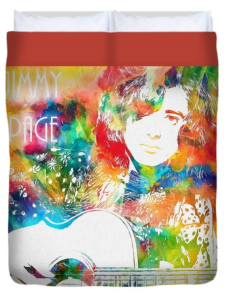 Colorful Jimmy Page Duvet Cover by Dan Sproul