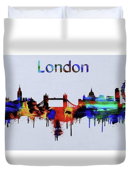 Colorful London Skyline Silhouette Duvet Cover by Dan Sproul