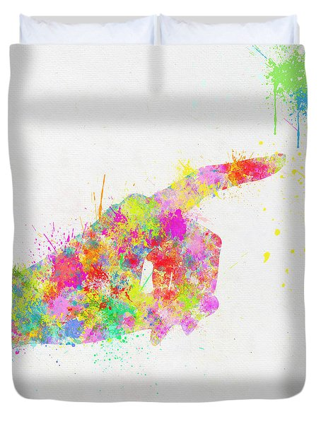 Colorful Painting Of Hand Pointing Finger Duvet Cover by Setsiri Silapasuwanchai