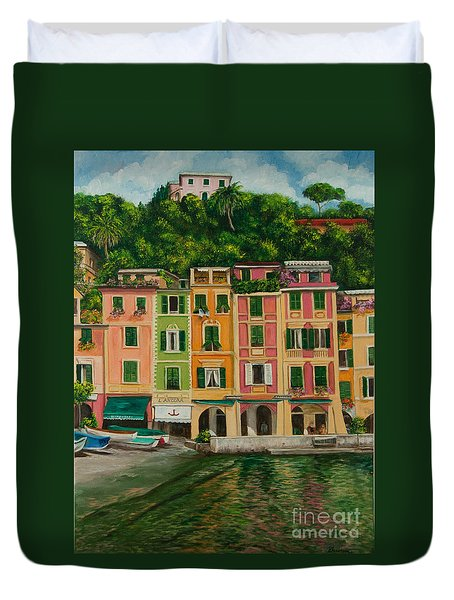 Colorful Portofino Duvet Cover by Charlotte Blanchard