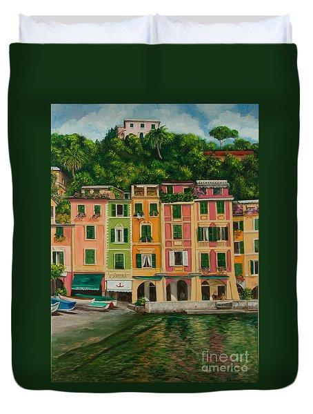 Colorful Portofino Duvet Cover by Charlotte Blanchard
