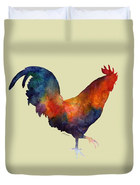 Colorful Rooster Duvet Cover by Hailey E Herrera