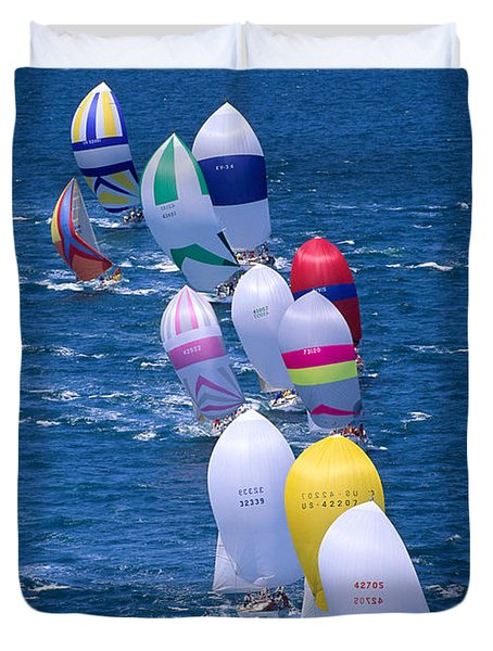 Colorful Sails In Ocean Duvet Cover by Sharon Green - Printscapes