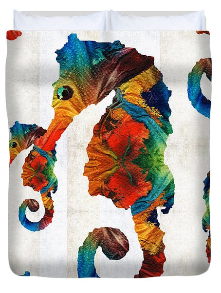 Colorful Seahorse Collage Art By Sharon Cummings Duvet Cover by Sharon Cummings