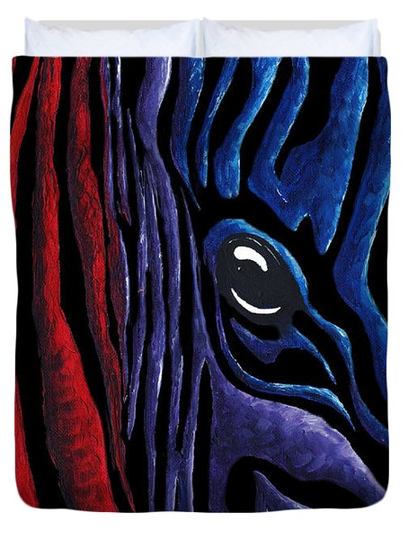 Colorful Stripes Original Zebra Painting By Madart In Black Duvet Cover by Megan Duncanson