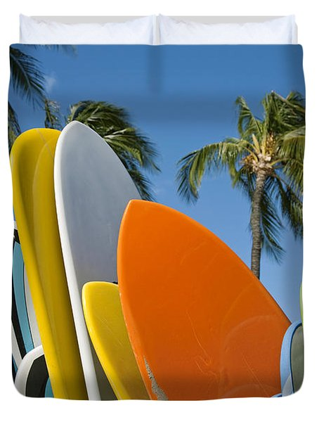 Colorful Surfboards Duvet Cover by Ron Dahlquist - Printscapes