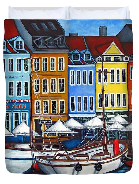 Colours Of Nyhavn Duvet Cover by Lisa  Lorenz
