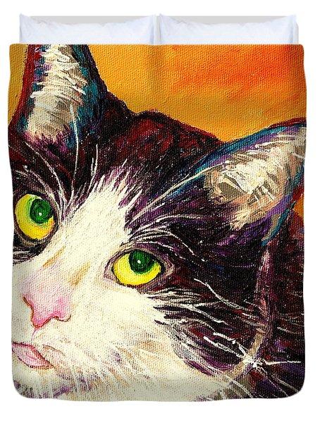 Commission Your Pets Portrait By Artist Carole Spandau Bfa Ecole Des Beaux Arts Duvet Cover by Carole Spandau