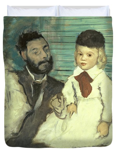 Comte Le Pic And His Sons Duvet Cover by Edgar Degas