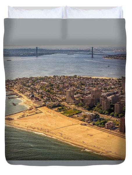 Coney Island Beach Duvet Cover by Susan Candelario