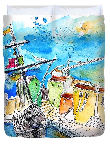 Conquistador Boat In Portugal Duvet Cover by Miki De Goodaboom