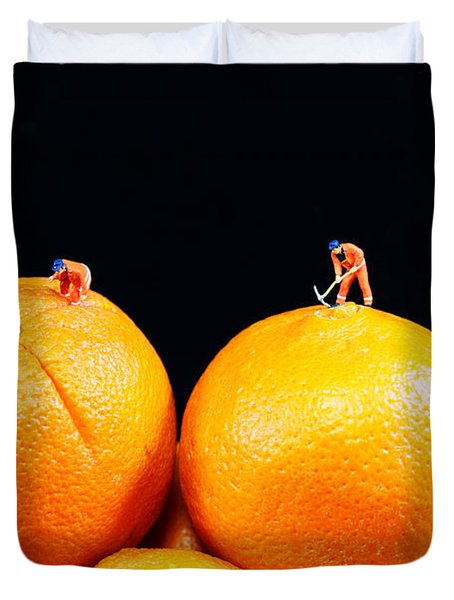 Construction on oranges Duvet Cover by Paul Ge
