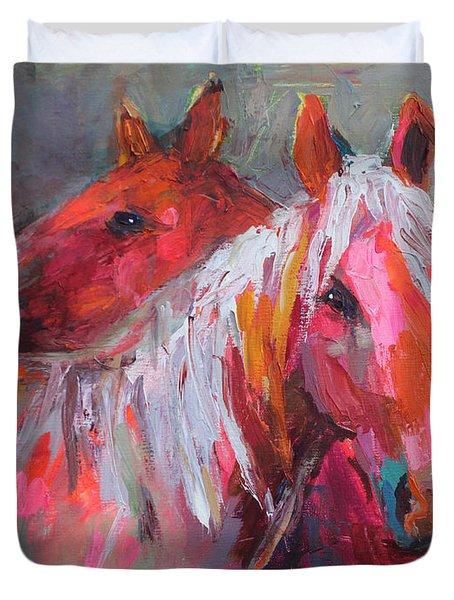 Contemporary Horses Painting Duvet Cover by Svetlana Novikova