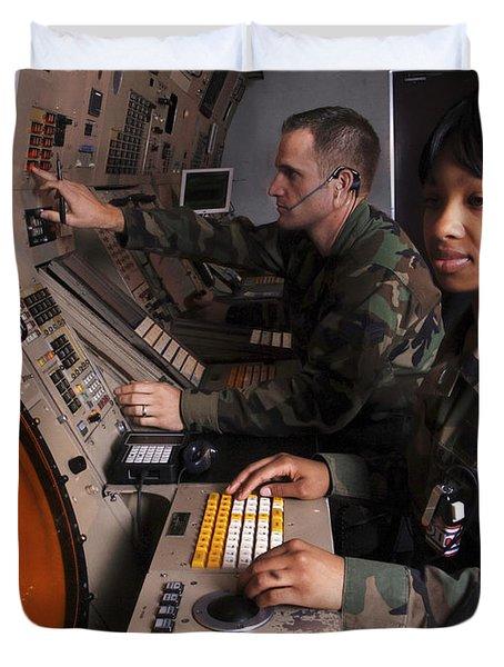 Control Technicians Use Radarscopes Duvet Cover by Stocktrek Images