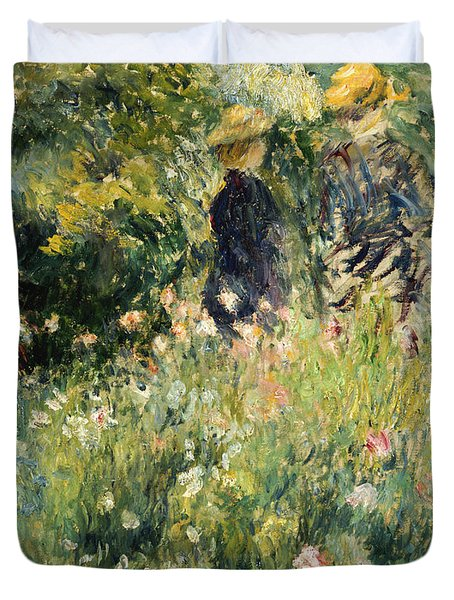 Conversation In A Rose Garden Duvet Cover by Pierre Auguste Renoir