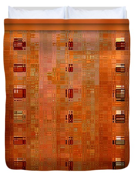 Copper Abstract Duvet Cover by Carol Groenen