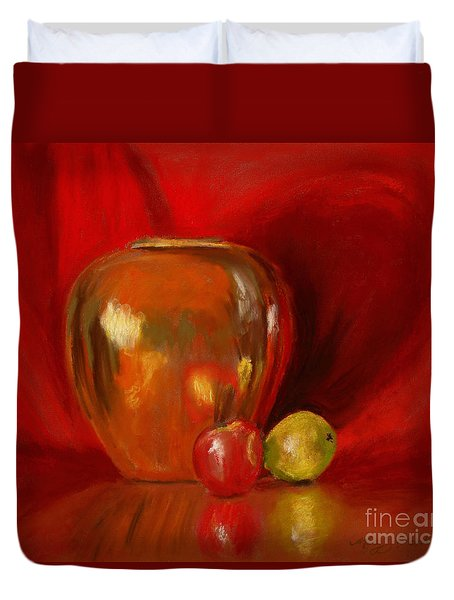 Copper Pot And Fruit Duvet Cover by Mary Benke
