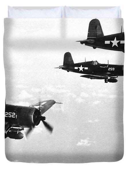 Corsair Planes  Us Airforce Duvet Cover by American School