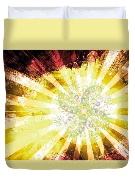 Cosmic Solar Flower Fern Flare 2 Duvet Cover by Shawn Dall
