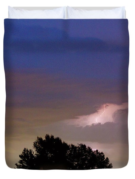 County Line 1 Northern Colorado Lightning Storm Duvet Cover by James BO  Insogna