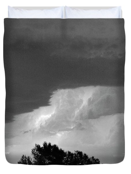 County Line Northern Colorado Lightning Storm Bw Duvet Cover by James BO  Insogna
