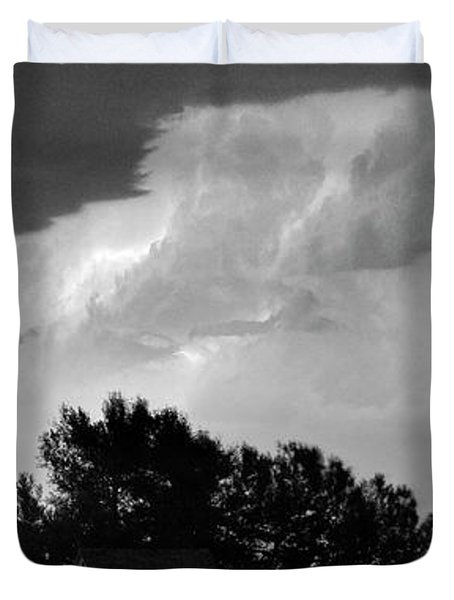 County Line Northern Colorado Lightning Storm BW Pano Duvet Cover by James BO  Insogna