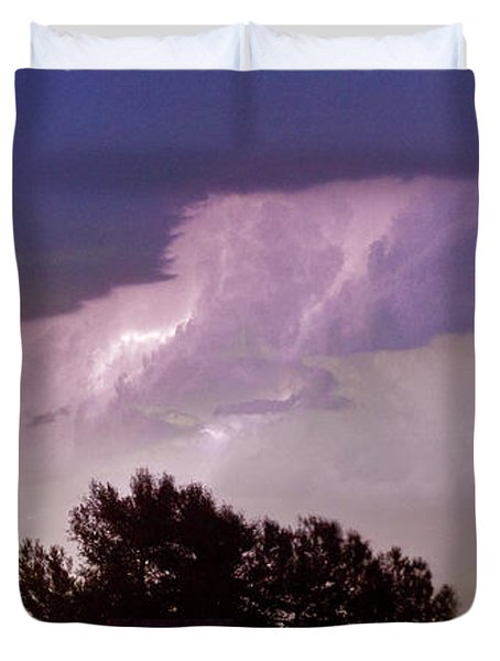 County Line Northern Colorado Lightning Storm Panorama Duvet Cover by James BO  Insogna