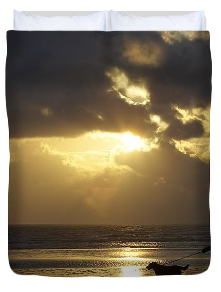 County Meath, Ireland Girl Walking Dog Duvet Cover by Peter McCabe