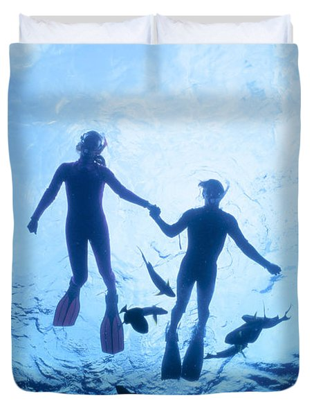 Couple At The Surface Duvet Cover by Ed Robinson - Printscapes