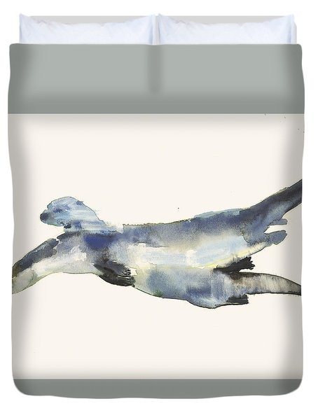 Courting Otters  Duvet Cover by Mark Adlington