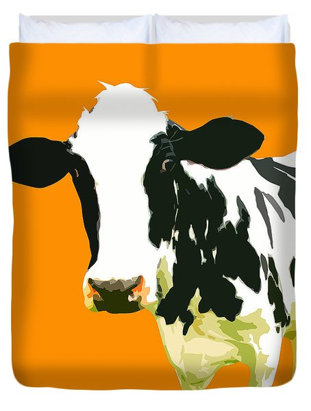 Cow In Orange World Duvet Cover by Peter Oconor
