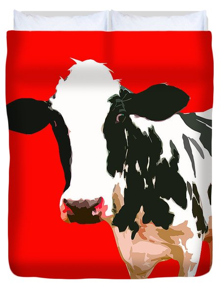Cow In Red World Duvet Cover by Peter Oconor