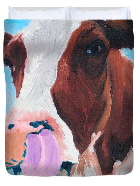 Cow Picking His Nose Duvet Cover by Michael Lee